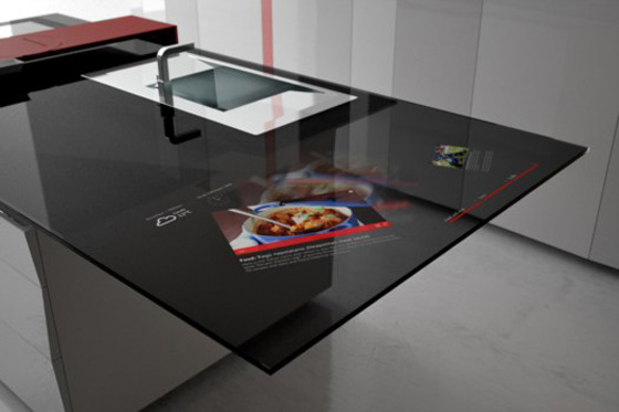 Kitchen Counter with Built-in Tablet