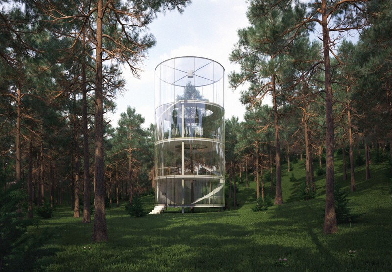 Cylindrical Glass House Built Around a Tree, The Tree In A House