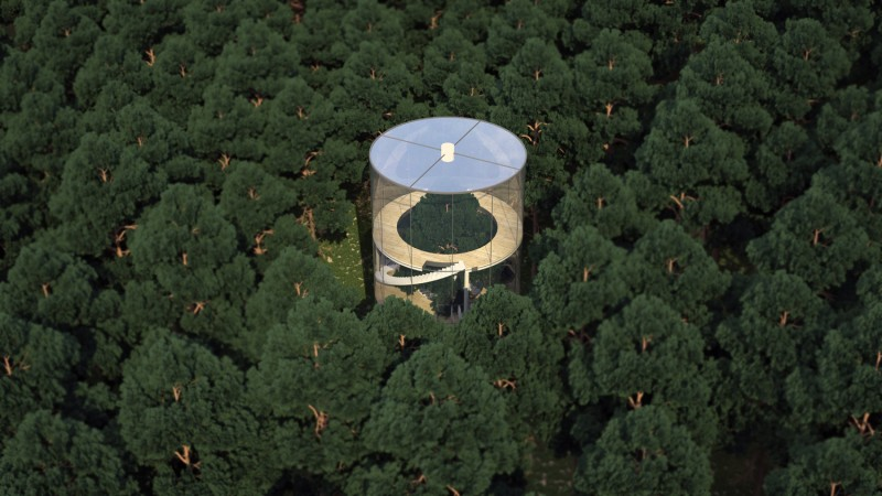 Cylindrical Glass House Built Around a Tree, Bird's Eye View