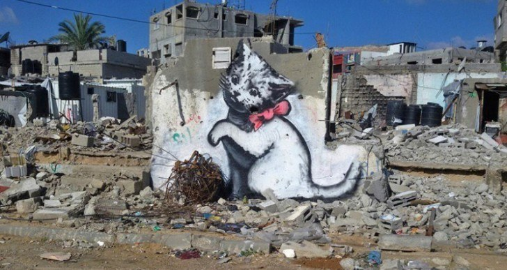 Latest Banksy Pieces Turn Up in Gaza