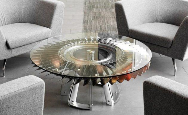 A table made of jet engine parts american luxury for Engine parts furniture