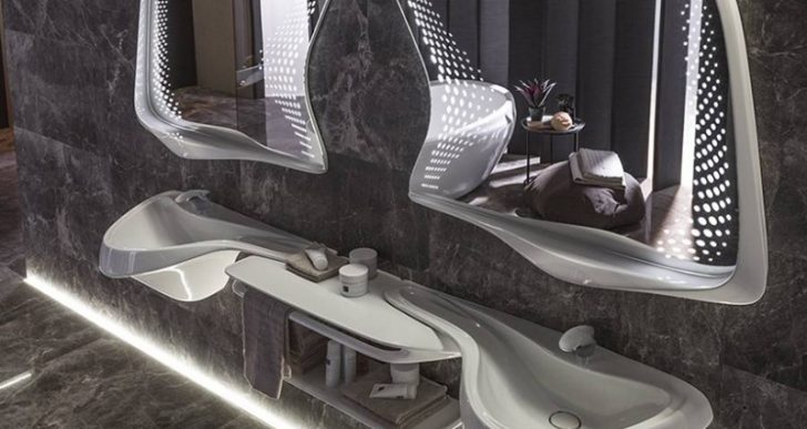 Zaha Hadid Design Brings Its Curvilinear Touch to Porcelanosa's Bathroom Collection
