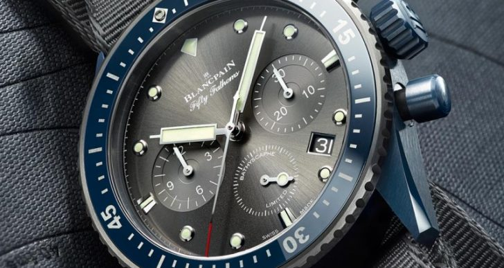 Blancpain's Fifty Fathoms Bathyscaphe Flyback Chronograph Gets a Blue Ceramic Case and an Ocean Commitment