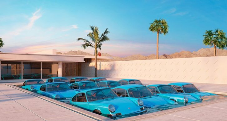 Artist Chris Labrooy's Surreal '911' Series Plops Porsches Around Palm Springs