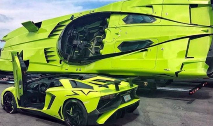 For $2.2M, You Could Land this Bright Green Lamborghini Aventador Plus a Matching Speed Boat