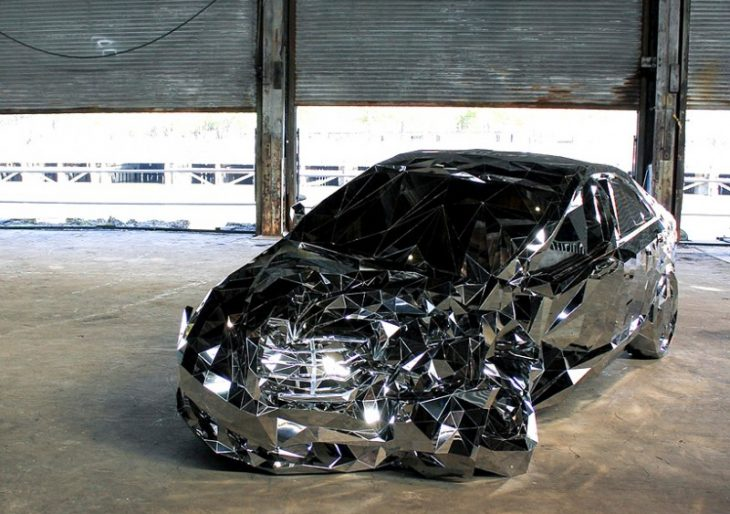 Jordan Griska's 'Crash' Is a Mirrored Steel Sculpture of a Wrecked Mercedes-Benz S550