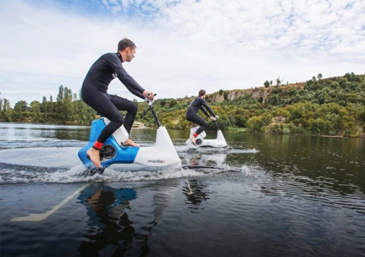 The Manta5 Hydrofoil E-Bike Lets You Cycle on Water